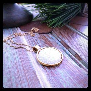 Gold pendant necklace white druzy stone
